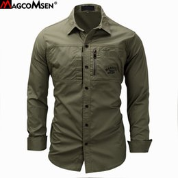 Military Collar Shirts Australia - Magcomsen 2019 Summer Shirts Men Long Sleeve Cotton Military Style Army Shirts Breathable Dress Shirts For Men Clothes Gzdz-11 Y190506
