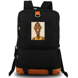 plain bean bags UK - Kobe Bryant daypack Black Mamba Bean school bag Star photo backpack Basketball laptop schoolbag Outdoor rucksack Sport day pack