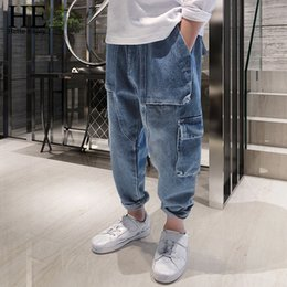 $enCountryForm.capitalKeyWord Australia - He Hello Enjoy Kids Jeans For Boys Solid Pocket Patchwork Harem Pants Boys Clothing Looes Denim Jeans Pants Children Trousers J190517