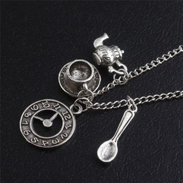 $enCountryForm.capitalKeyWord Australia - Ancient Silver Coffee Cup Watch Teapot Spoon Charm Pendant Necklaces Movie Adventures Alice's In Wonderland Necklace Fashion Women Men Gift