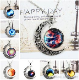 $enCountryForm.capitalKeyWord Australia - Mix Chokers Necklace Swarovski Starry Outer Space Universe Gemstone Silver Chain Moon Necklaces Pendant Galaxy Half Crescen Glass