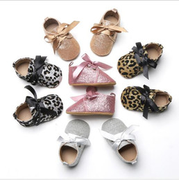 Toddlers fooTwear online shopping - 5 Colors toddler girl shoes Bow Ribbon Lace up Bling Leopard princess kids shoes Toddler soft sole anti skid first walker Footwear Prewalker