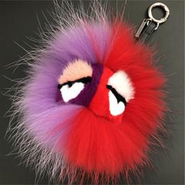 $enCountryForm.capitalKeyWord Australia - Lilac red-100% Genuine Real Fur Monster Doll Toy Bag Charm Fur Pompom Ball Bag Charm Key Chain Keyring bag car phone Accessories