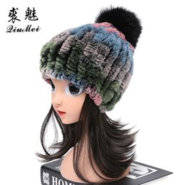 russian beanies UK - Real Fur Hats for Girls Boys Rex Fur Hats Children Winter Beanies 2020 New Russian Pompom Caps New Warm Caps For Kids