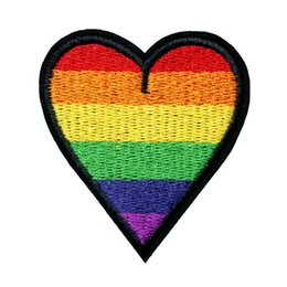 Love patches online shopping - 6CM Rainbow Heart Peace Love Embroidered Patches Sew Iron On Fabric Badges LGBT For Clothes DIY Appliques Craft Decoration