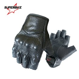 men leather half gloves Australia - Motorcycle Gloves Mitt Glove Half Finger Fingerless Leather Summer Men Women Scooter Moto Mitten Electric Bike Racing Cycling MX190817