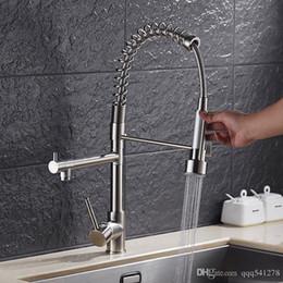 Kitchen Faucets Spout Australia - Luxury Gold Color Kitchen Faucet Tap Two Swivel Spouts Extensible Spring Mixer Tap Pull Out Down Kitchen Sink Faucet Torneira