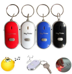 key locator keychain Canada - Anti Lost LED Key Finder Locator 4 Colors Voice Sound Whistle Control Locator Keychain Control Torch