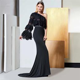 665bccdddce 2018 setwell cuentas negras de encaje vestidos de noche barridos  personalizados vestidos de noche sin respaldo vaina vestido de fiesta de  manga larga traje ...