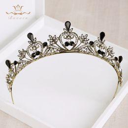 $enCountryForm.capitalKeyWord NZ - Fashion Jewelry Baroque Black Tiara Crowns Retro Rhinestone Hairbands Vintage Bridal Wedding Hair Accessories Plated Crystal Hair Jewelry