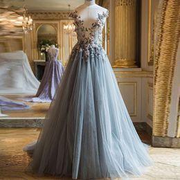 fb971b5fad Black Fairy Dress Australia - Fairy 3D Floral Tulle Prom Dresses bateau Long  Dusty Blue Evening