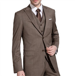$enCountryForm.capitalKeyWord Australia - Coffee Brown Suits For Terno Men Suits 3 Pieces (Jacket+Pant+Vent+Tie) Two Buttons Groom Terno Masculino Custom Made Blazer