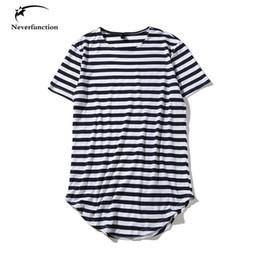 Hip Hop Clothing Swag T Shirts NZ - Summer Tyga Harajuku Hip Hop Arc Hem Extended T Shirt Striped T-shirt Oversized Streetwear Men Skate Tee Shirts Swag Clothes C19040402