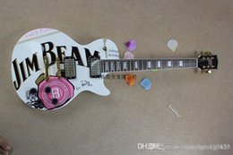$enCountryForm.capitalKeyWord Australia - Free shipping JIM BEAM model with pink rose flower decal on body top white color OEM Standard electric Guitar