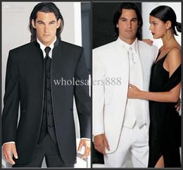 Mandarin Suit Tie Australia - Custom Made Groomsmen Black white Groom Tuxedos Mandarin Lapel Best Men Bridegroom Wedding Prom Dinner Suits (Jacket+Pants+Tie+Vest) H98