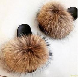 Hair Fur Australia - 2019 Women's Furry Slippers Ladies Cute Plush Fox Hair Fluffy Slippers Women's Fur Winter Warm for Women Hot