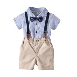 Baby Jumpsuit Wholesale Australia - Two Styles Baby Boys Gentleman Outfits Suits, Infant Blue Shirt+Bib Shorts+Tie+Suspenders Clothing Set,Infant Jumpsuit Romper