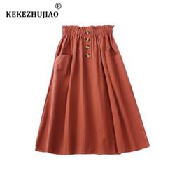 09e80d659f Nuevas mujeres una línea midi falda de algodón niñas casuales Retro Botones  elásticos de cintura alta más tamaño flare bolsillos verano faldas mujer
