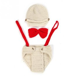 Baby Boys Knit Vest Australia - Infant newborn baby Lovely handmade knitted Photography Props Set Costume baby girl boy cloth accessories crochet bow hat