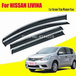 chrome window trims UK - Car Awnings Shelters Window Visors Sun Rain Shield Sticker Cover Plating Chrome Trim Auto Accessories For Nissan Livina