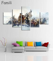 Wholesale Canvas Movie Prints Australia - 5Panel Factory Price Movie Assassins Creed Poster Wall Modular Picture Canvas Paintings For Living Room Bedroom Kids Room Wallpaper