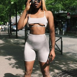 sexy black women yoga pants 2019 - 2 Layers Sexy Two Piece Set Top And Pants 2 Piece Set Women Shorts Crop Top Summer Sets Plus Size Tracksuit Women cheap