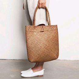 Handmade sHopping bags online shopping - Fashion Designer handmade Bags women straw rattan Handbag woven Wicker Shoulder Bag Shopping Straw Tote
