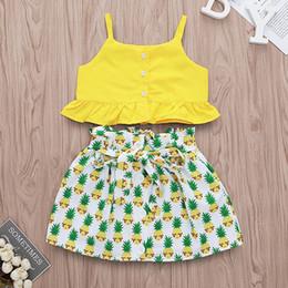 Venta al por mayor de Vestidos para niñas Tops + faldas de piña Trajes Verano 2019 Ropa para niños Boutique 1-4T Niñas con volantes y tops de sol Faldas 2 piezas