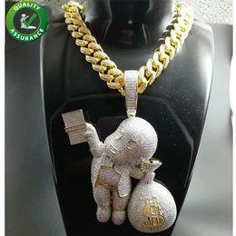 Money diaMonds online shopping - Iced Out Pendant Hip Hop Bling Chains Jewelry Men Gold Necklace Luxury Designer Diamond Cuban Link Cartoon Mario Money Bag Rapper DJ Charms