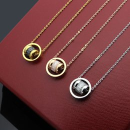 Steel Gold 18k Australia - New Arrive Fashion Lady 316L Titanium steel 18K Plated Gold Necklaces With Three Color Stone Screw thread Pendant Engagement 3 Color