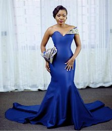 nigeria embroidery lace dresses Australia - 2019 Nigeria blue Mermaid Prom Dresses sexy sweetheart Evening Dress Aso Ebi Style African custom made Formal Gowns