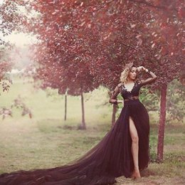 Royal couRt gowns online shopping - Black Tulle Court Train Sexy Wedding Dresses High Side Split Lace Long Sleeves V Neck Bridal Wedding Gowns A Line Dress