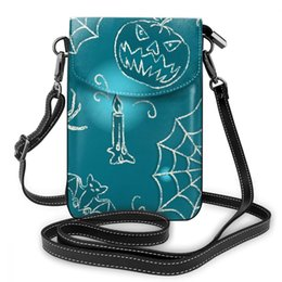 $enCountryForm.capitalKeyWord Australia - wholesale Customized Halloween Print Universal Cell Phone Bag Shoulder Pocket Wallet Pouch Case Neck Strap Blue Messenger Bag