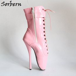 Wholesale Sorbern cm Babe Pink Shiny Patent Sexy Fetish Pinup Cosplay Boots designer brand Calf Hi Ballet Dance Show Boots Ballet High Heels