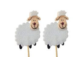 Wholesale 20pcs White Lamb Sheep Cupcake Topper Girl Boy Baby Birthday Party Sheep Cake Topper Cake Decoration