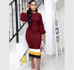 long sleeve maxi dresses Australia - Panelled Womens Designer Dresses Long Sleeve Crew Neck Ladies Dresses Slim Casual Womens Clothing