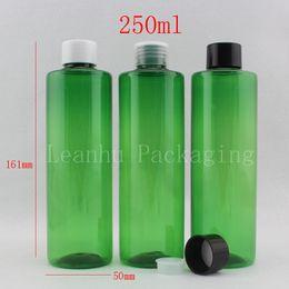 Green Plastic Bottles Australia - wholesale 250ml X 20 green round plastic containers bottles with screw cap 250cc liquid soap PET bottle,shampoo cosmetic jar