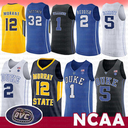 d5212bf8a5f Maglia NCAA 1 Zion Williamson Duke Blue Devils College 12 Ja Morant Murray  Stato 5 RJ