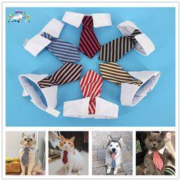 Tie Necktie Bow Dogs Australia - New Pet Dog Striped Tie collar Cat Bow Cute Dog Necktie Wedding Adjustable Puppy Red Blue Khaki free shipping