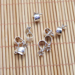 Connectors 4mm Australia - 100 piece Bright Sterling Silver Bail W   Pin Pearl Pendant Clasp Slider   Bead Cap Findings   Bright Connector Bail 3mm Platinum,4mm Silver