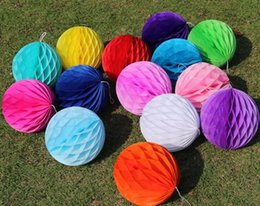 Party Decorations Chinese Lanterns Australia - Round Paper Honeycomb Ball With Tissue Flower Chinese Lantern For Wedding Kid Birthday Party Decorations Supplies Many Sizes SN1779