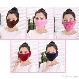 $enCountryForm.capitalKeyWord Australia - 2 in 1 Unisex Solid Color Warm Ear Cover Dust-proof Breathable 8 Colors Mask Outdoor Riding Winter Anti-fog Thicken Warm Mask DH0598