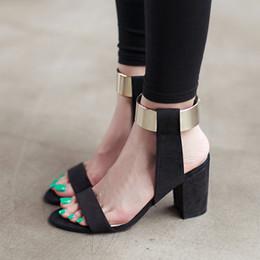 $enCountryForm.capitalKeyWord Australia - 2018 New Summer Women Sandals Sexy High Heels Flock Open Toe Fashion Block Heels Gladiator Black Big Size Ladies Shoes