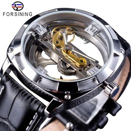 Luxury Watches Transparent Australia - Forsining Double Side Transparent Mens Watch Fashion Business Skeleton Waterproof Design Luxury Black Leather Automatic Watches for Men