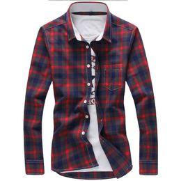 Blue Red Checkered Shirt Australia - 5XL Plaid Shirts Men Checkered Shirt Brand 2018 New Fashion Button Down Long Sleeve Casual Shirts Plus Size Drop Shipping