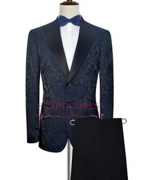 Discount two piece suits for mens wedding - Ink Blue Embroidery Pattern Formal Mens Tuxedos Suits New Elegant Tuxedos For Formal Party Wear Two Pieces Suits Wedding