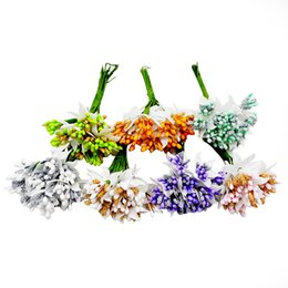 wholesale wreath wire NZ - 12PCS lot Mulberry party Artificial Flower Stamen wire stem marriage leaves stamen DIY wreath wedding box decoration Fake flower