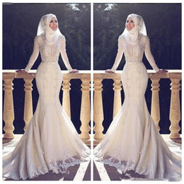 modest organza beach wedding dresses UK - Modest Slim Fishtail Arabic Style Mermaid Wedding Dresses Long Sleeves Lace Applique O Neck Hijab trumpetLong Bridal Gowns Muslim