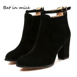 Ankle Chain Pumps NZ - women shoes winter autumn casual women high heels pumps warm Ankle boots women botas shoes Mujer zapatos Plus size 35-42 W205