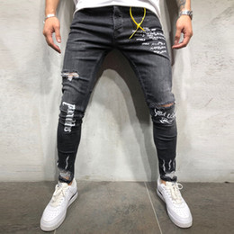 Korean fashion trousers for men online shopping - Fashion Denim Men Korean Style Hip Hop Black Letter Print Jeans Masculino Elastic Pencil Trousers Ripped Jeans For Men Pants